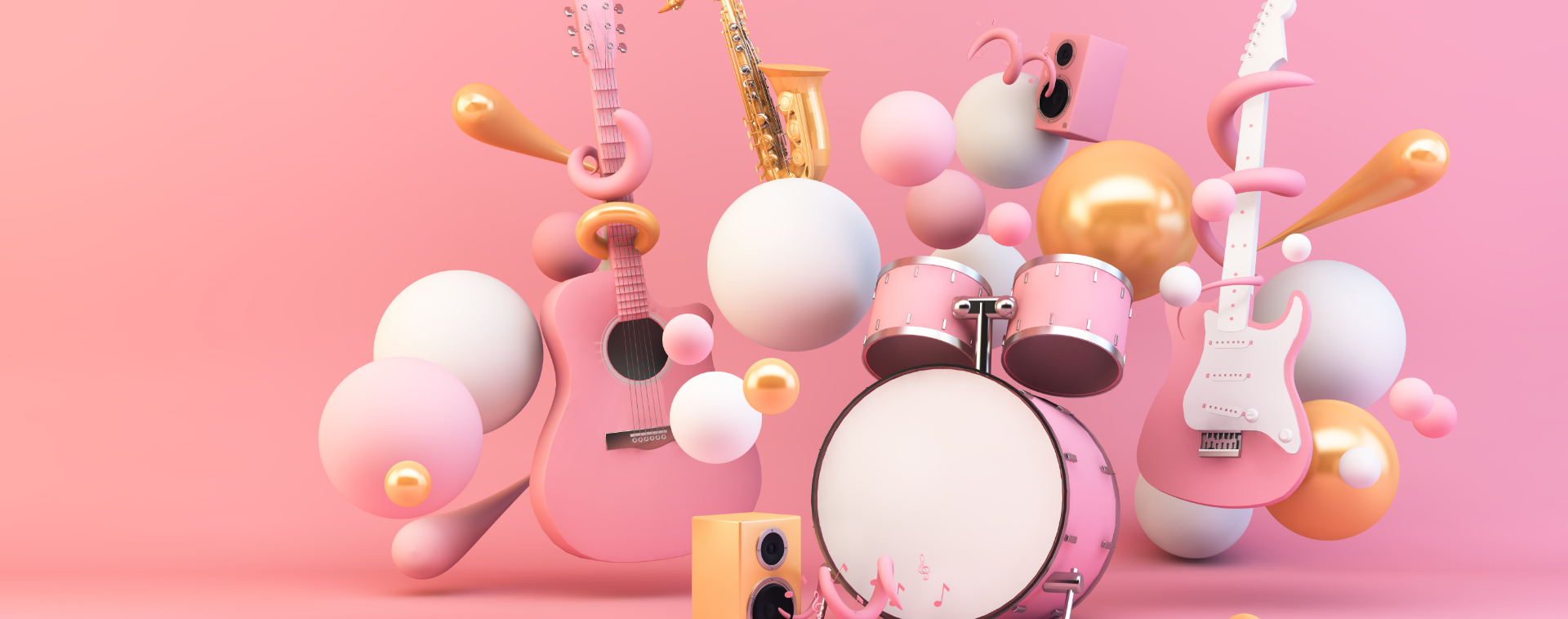 music-instrument-surrounded-by-geometrical-shapes-3d-rendering